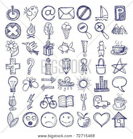 set of 49 hand draw web icon design elements