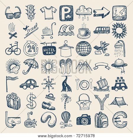 49 hand drawing icon set, travel theme