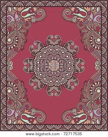 Ukrainian Oriental Floral Ornamental Carpet Design