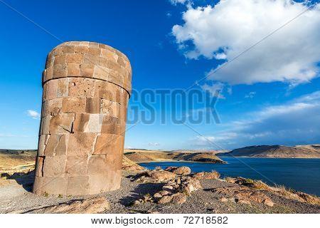 Pre Incan Funerary Tower At Sillustani
