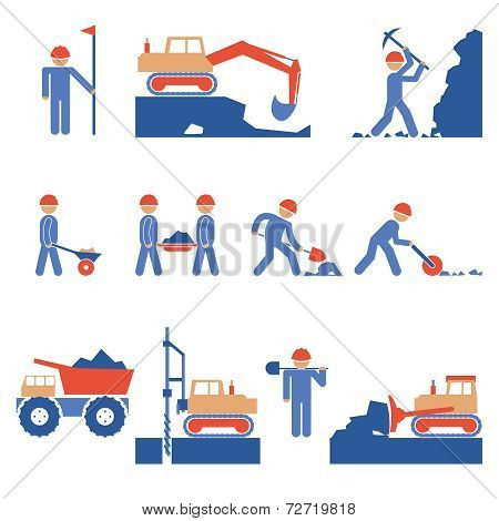 Earthwork and Road Construction Icons