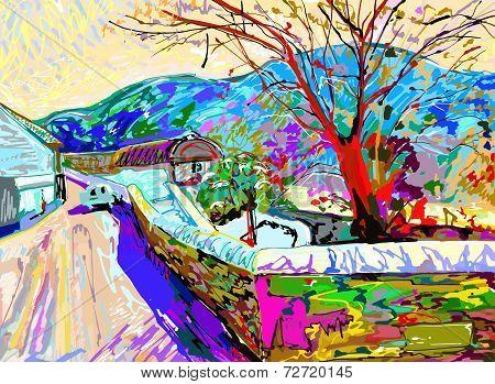 digital art painting of  rural landscape