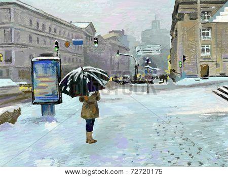 digital art painting of winter city landscape , vector version