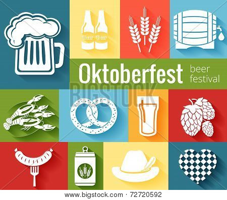 Set of vector Oktoberfest icons