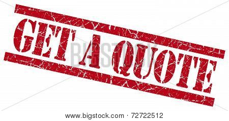 Get A Quote Red Grungy Stamp On White Background