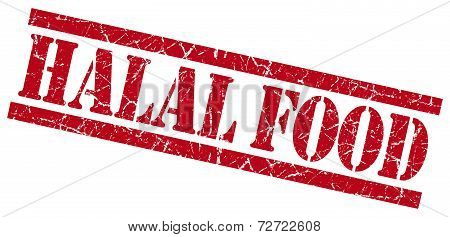 Halal Food Red Grungy Stamp On White Background