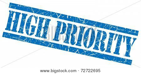 High Priority Blue Grungy Stamp On White Background