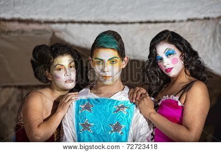 Grinning Cirque Clown With Admirers