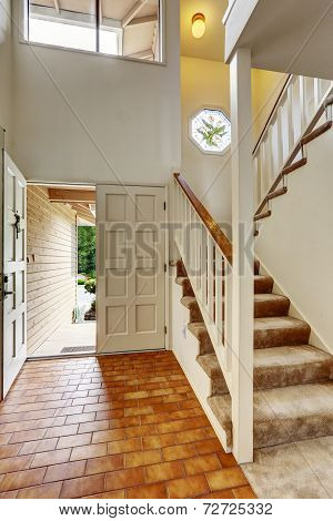 Empy House Interior. Enrance Hallway With Staircase