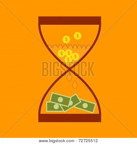 Hourglass Concept Business Finance Money Transform