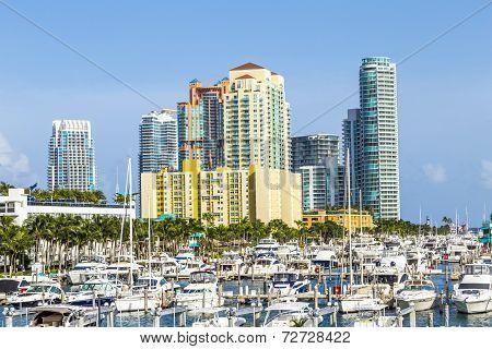 Miami South Beach Marina With Skyline