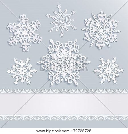 Holiday Background With Snowflakes And White Stripe With Lace