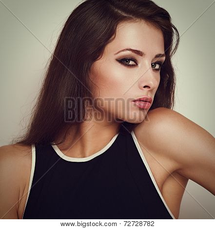 Beautiful Woman With Smokey Eyes Bright Makeup Posing With Sexy Look