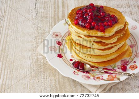 Pancake Stack With Lingonberry Jam And Fresh Apples