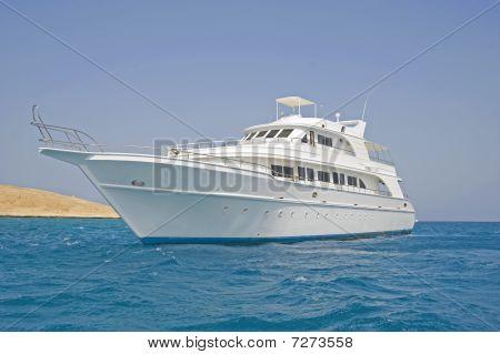 Large motor boat at sea