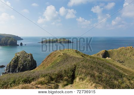 Mullion Cove island Cornwall UK the Lizard peninsula Mounts Bay near Helston