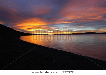 Sunset Over Namtso Lake
