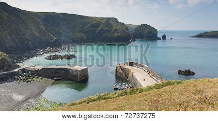 Mullion Cove harbour Cornwall UK the Lizard peninsula Mounts Bay near Helston