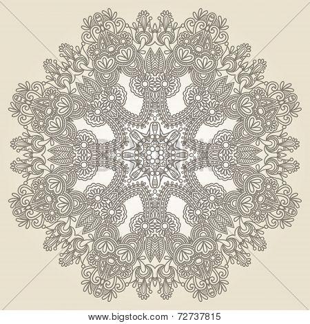 Circle lace ornament, round ornamental geometric doily patter