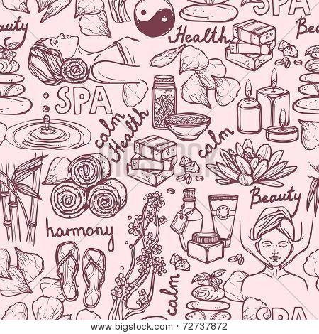 Spa sketch seamless pattern