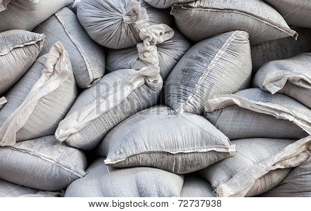 Wall Of Sandbags For Flood Defense Or Military Use