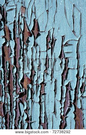 texture of old cracked wood painted blue