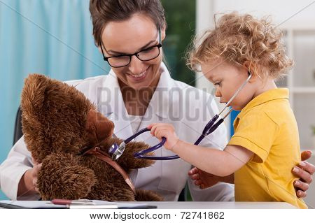 Child Auscultating Teddy Bear