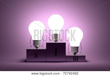 Glowing Tungsten Light Bulb Characters On Podium