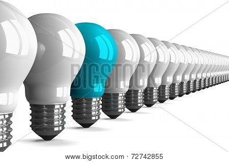 Blue Tungsten Light Bulb And Many White Ones, Perspective View