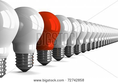 Red Tungsten Light Bulb And Many White Ones, Perspective View