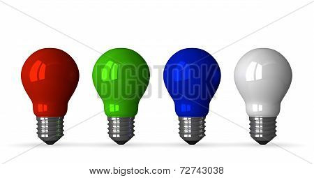 ??red, Green, Blue And White Tungsten Light Bulbs, Front View
