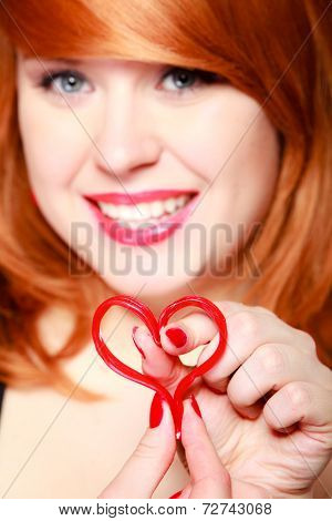 Happy Girl Holding Red Heart Love Symbol. Valentines Day.
