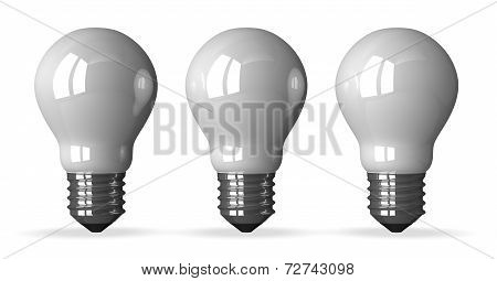 Three White Tungsten Light Bulbs, Front View