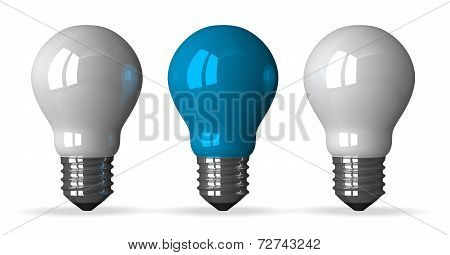 Blue Tungsten Light Bulb And Two White Ones, Front View