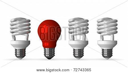 Red Tungsten Light Bulb And Three White Spiral Ones