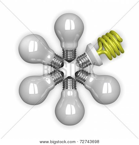 yellow Spiral Light Bulb Among White Tungsten Ones Lying Radially