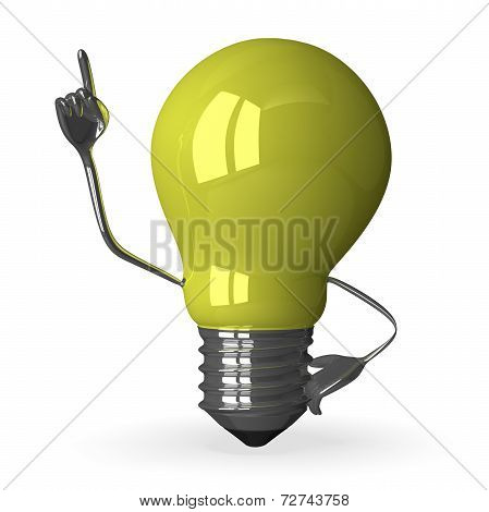 yellow Tungsten Light Bulb Character In Moment Of Insight