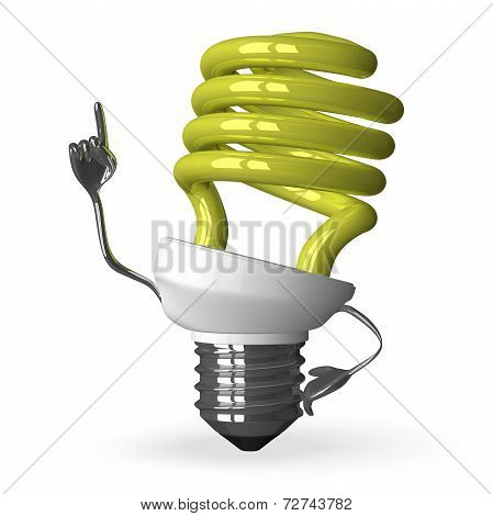 yellow Spiral Light Bulb Character In Moment Of Insight
