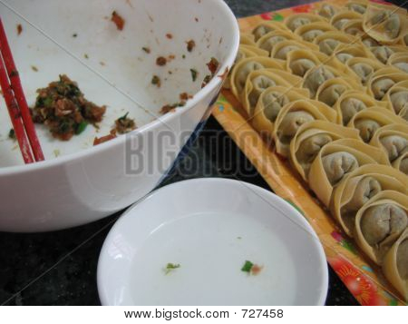 Food - Making Chinese Dumpling Or Wanton