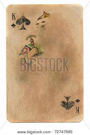 Vintage Used Rubbed Playing Card King Of Spades Paper Background