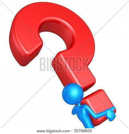 3D Character Carrying A Big Question