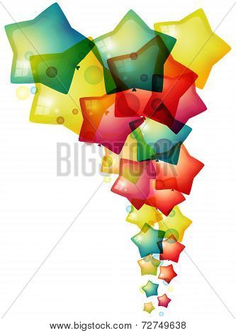 Colorful Stars Balloon Floating Upward, Create By Vector