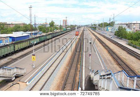 Railroad. Zlobino station. Krasnoyarsk
