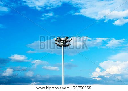 hight outdoor architecture lamp with blue sky