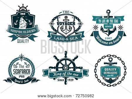 Blue nautical and sailing themed banners or icons