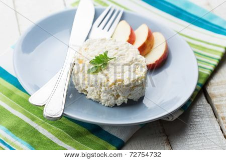 Cottage Cheese And Apple On  Plate