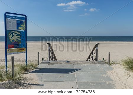 Beach At Maasvlakte Rotterdam With Information Sign
