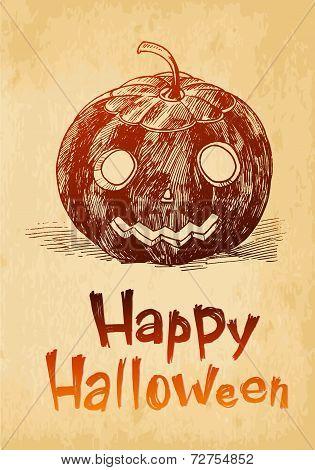 Happy Halloween Pumpkin Jack O'lantern Drawn In A Sketch Style