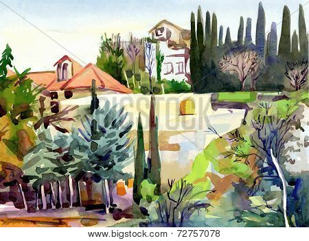 watercolor landscape with trees and houses