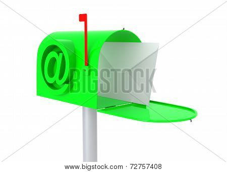Green Mail Box With Letter